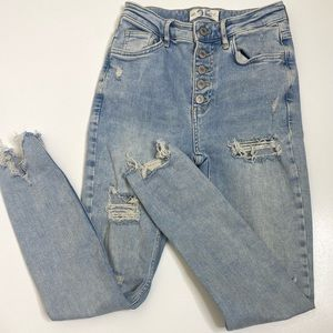 We the Free High Waist Distressed Button fly Jeans